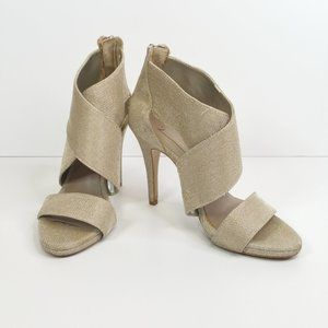 Zara Gold Mesh Fabric Wide Strap Criss Cross Heels
